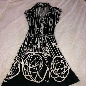 BCBG MAXAZRIA black & cream print dress size M